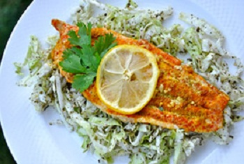 Baked Catfish and Mint Cabbage Salad Baked Catfish and Mint Cabbage Salad